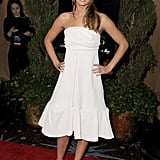 If you're the bride-to-be, channel Jennifer Lawrence's white strapless Chloé dress and black satin pumps for your special occasion.