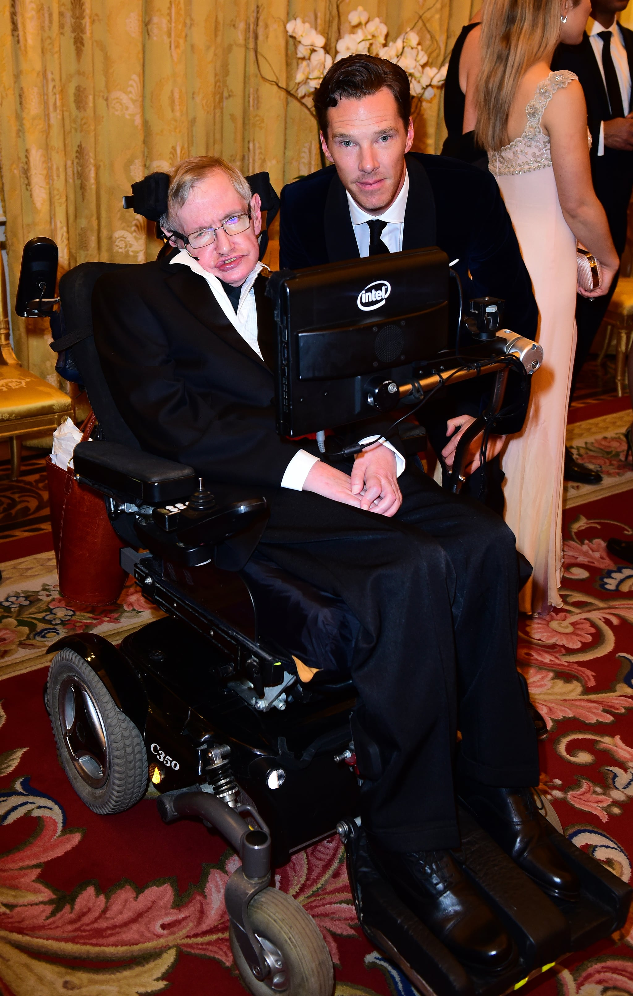 LONDON, ENGLAND - MARCH 10:  Professor Stephen Hawking and Benedict Cumberbatch attending a reception and dinner, in support of Motor Neurone Disease Association at Buckingham Palace on March 10, 2015 in London, United Kingdom. (Photo by Ian West - WPA Pool/Getty Images)