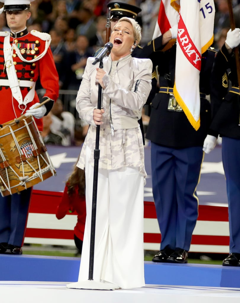 Pink Was Probably More Comfortable Than You in Your PJs While Singing the National Anthem