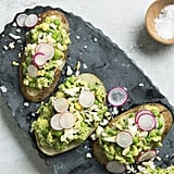 Potato Toasts With Green-Pea Avocado Mash and Shaved Eggs