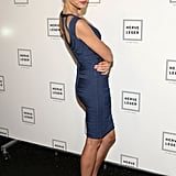 Petra Nemcova struck a sexy pose at the Hervé Léger show on Saturday.