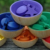 Wooden Rainbow Sorting Bowl Toy