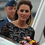 Kate Middleton held onto flowers from fans in Canada.