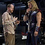 Director Joss Whedon and Chris Hemsworth as Thor in The Avengers.  Photo courtesy of Disney