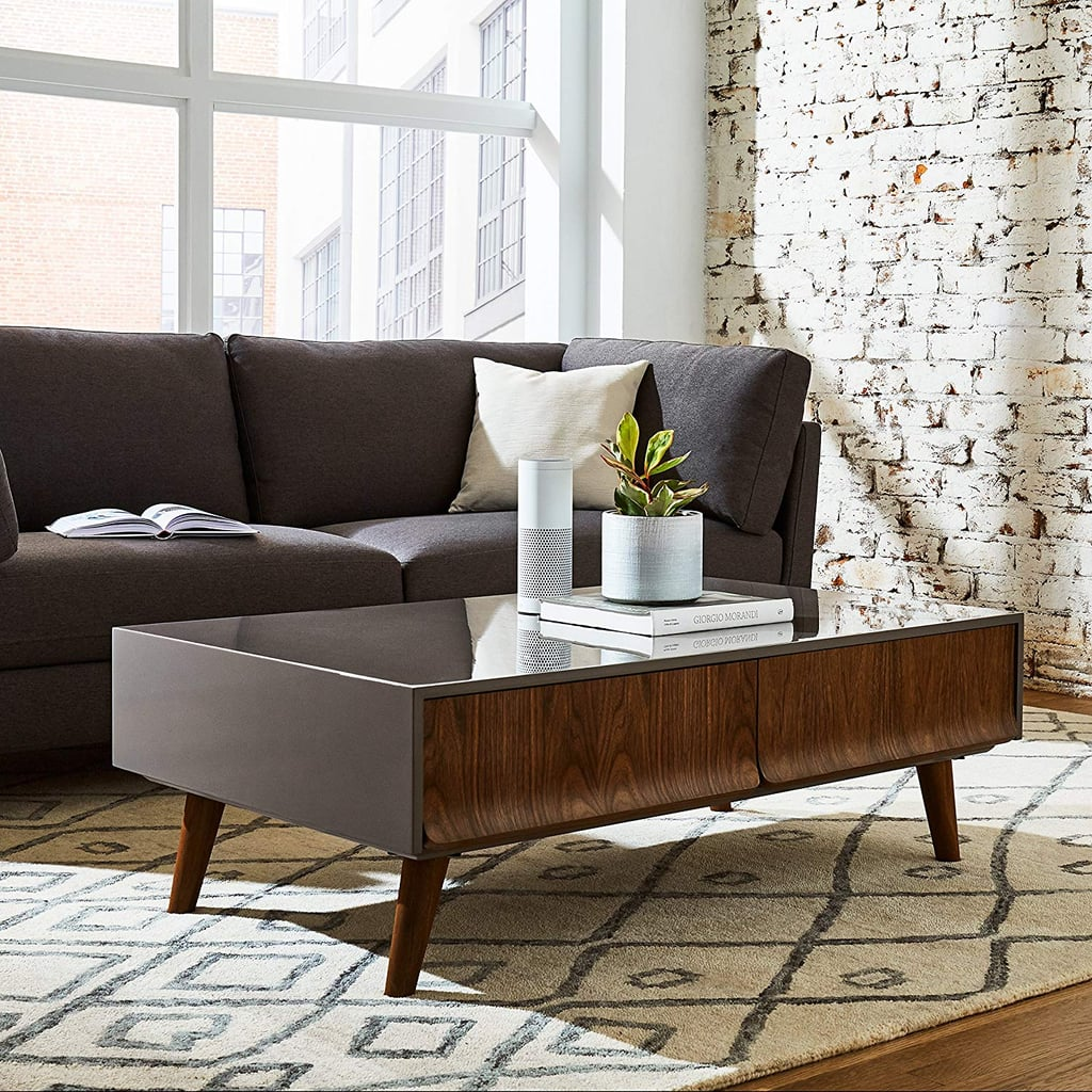 Rivet Mid-Century Lacquer Two-Drawer Coffee Table