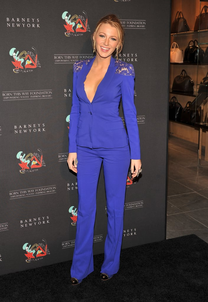 Blake Lively looked long and lean in a blue pantsuit.