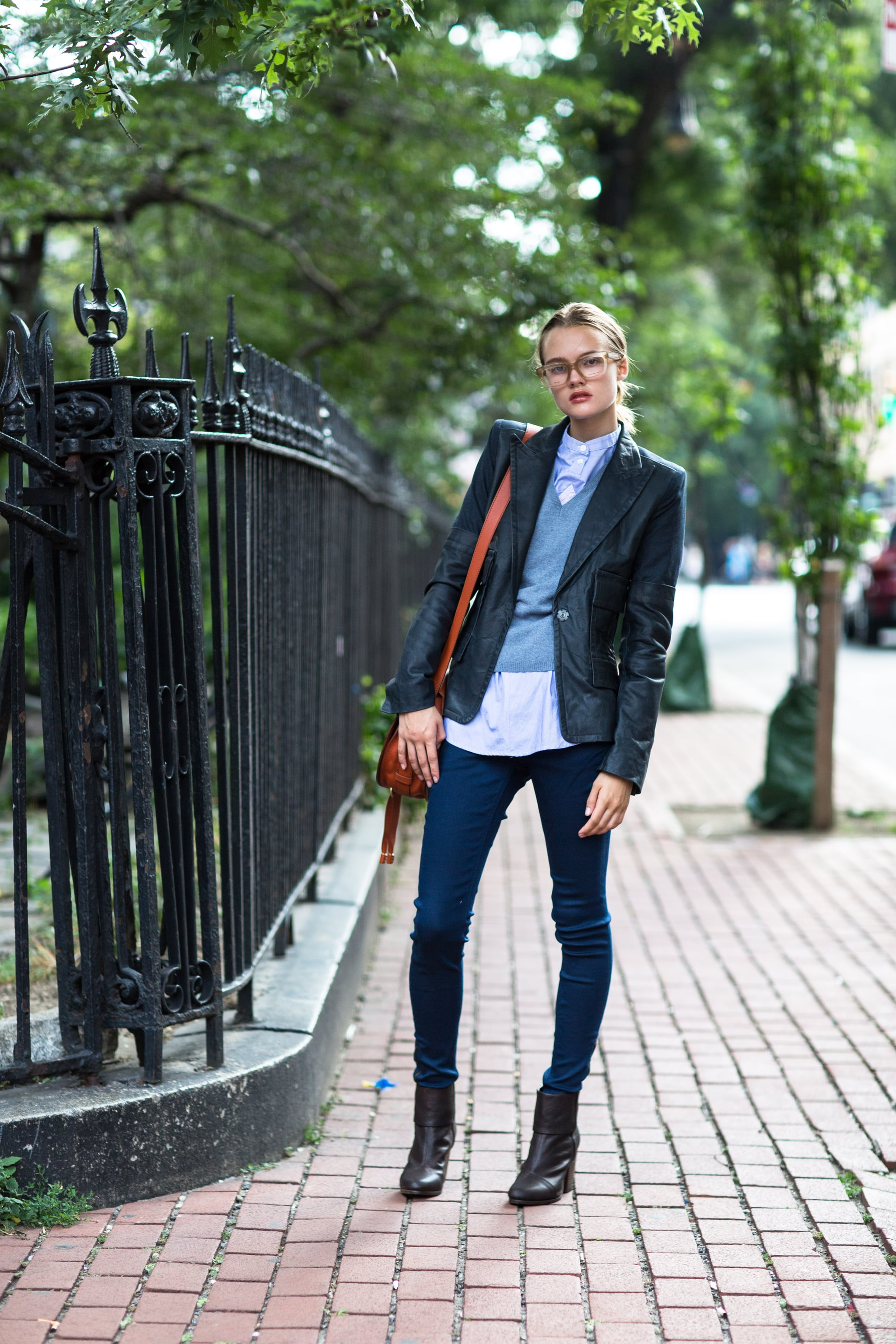Refresh a bookish look with layers and geeky-chic specs. Source: Le 21ème | Adam Katz Sinding
