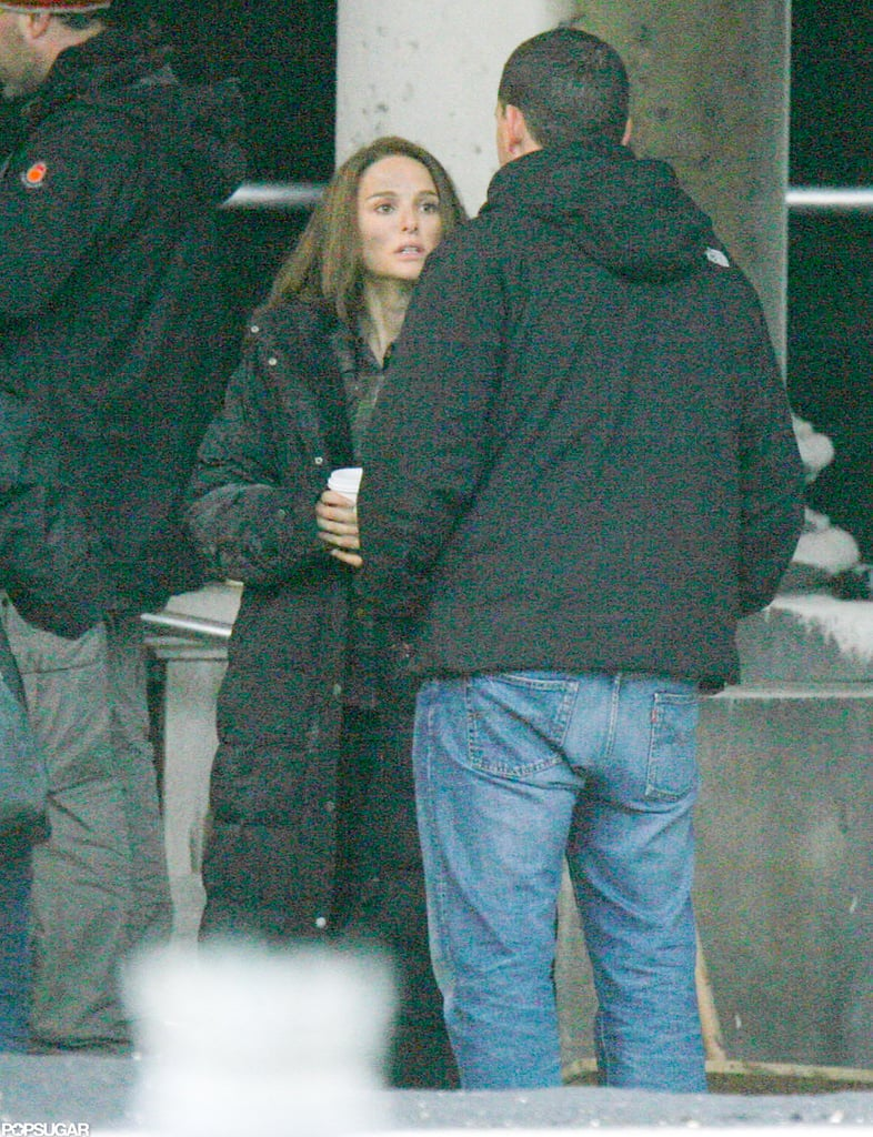 Natalie Portman chatted on set in London.