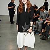 Julianne Moore's red hair popped against her chic black and white palette at Reed Krakoff.