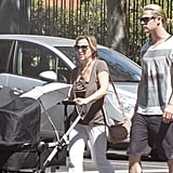 Chris Hemsworth and his mother-in-law strolled around Madrid with baby India.