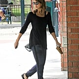 Jessica Alba in Navy Printed Jogger Pants