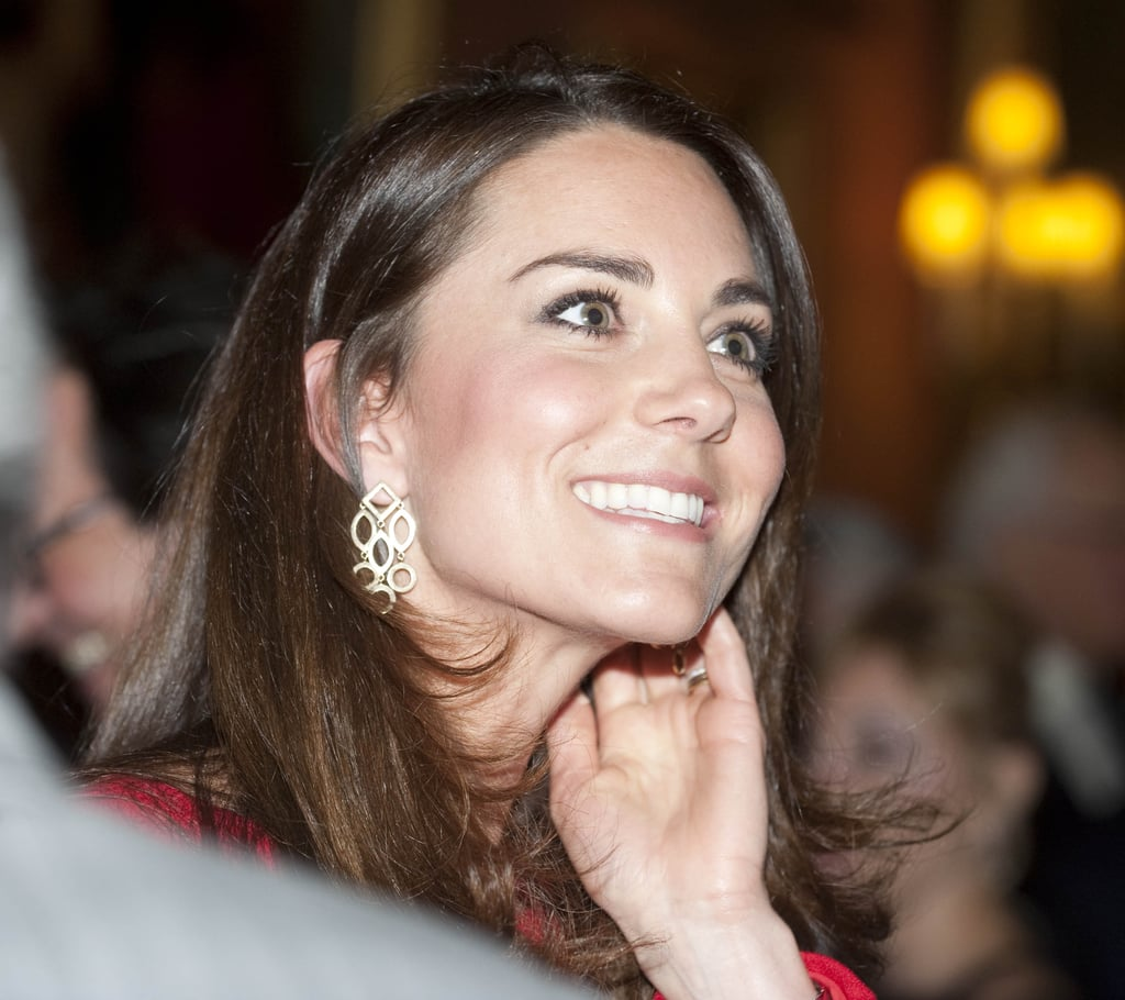 Kate showed off some fancy earrings.