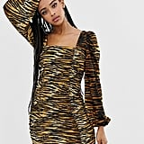 Collusion Tiger-Print Ruched Dress