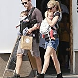 Anna Paquin and Stephen Moyer walked in LA's Venice neighborhood with their twins, Charlie and Poppy, in July 2013.