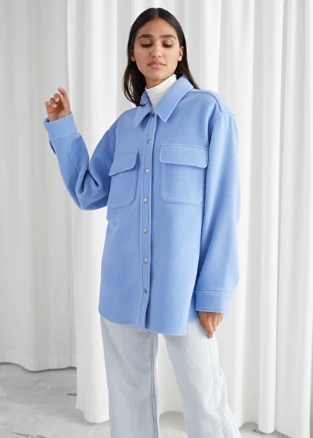 & Other Stories Oversized Wool Blend Workwear Shirt
