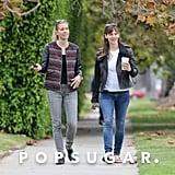 Jennifer Garner had a smiley stroll with a girlfriend in LA on Friday.