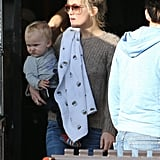 Kate Hudson held baby Bing at lunch.
