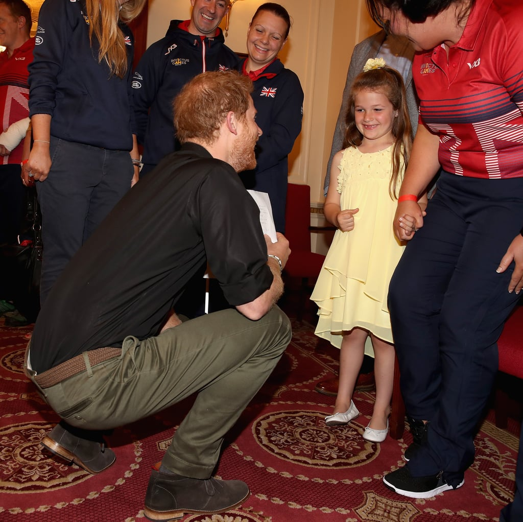 "Prince Harry had a precious encounter with a little girl when he met with the team who represented the UK at the Invictus Games at the Tower of London. The royal was introduced to 6-year-old Maya Turner, whose mother, RAF Sgt. Michelle, is taking part in the games this September. Not only did he lean down to shake the little girl's hand, but he also took a moment to read the letter she wrote to thank him for ""helping my mummy"" and other wounded and injured military heroes. This is just the most recent way Harry is giving back to the community. Aside from offering his condolences to the victims of the Manchester attack in an official statement, he also met up with former president Barack Obama on Saturday to talk about ""a range of shared interests, including support for veterans, mental health, conservation, empowering young people, and the work of their respective foundations.""      Related:                                                                                                           38 Times Prince Harry Was Out-of-Control Cute With Kids"