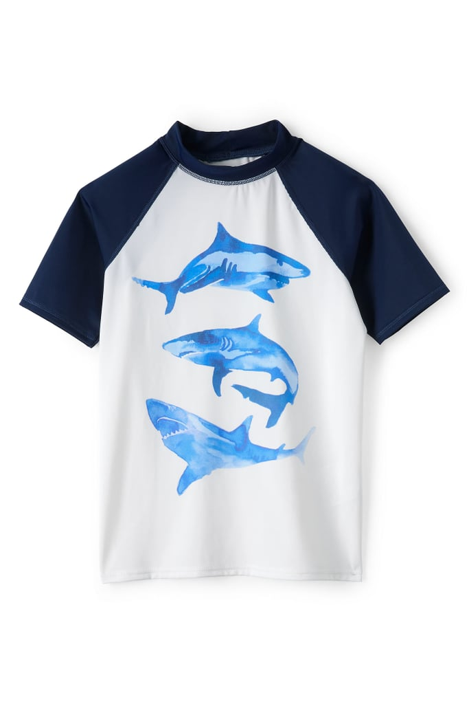 Lands' End Little Boys Raglan Colorblock Graphic Rash Guard-Sharks