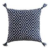 Geometric Pom Square Indigo Pillow