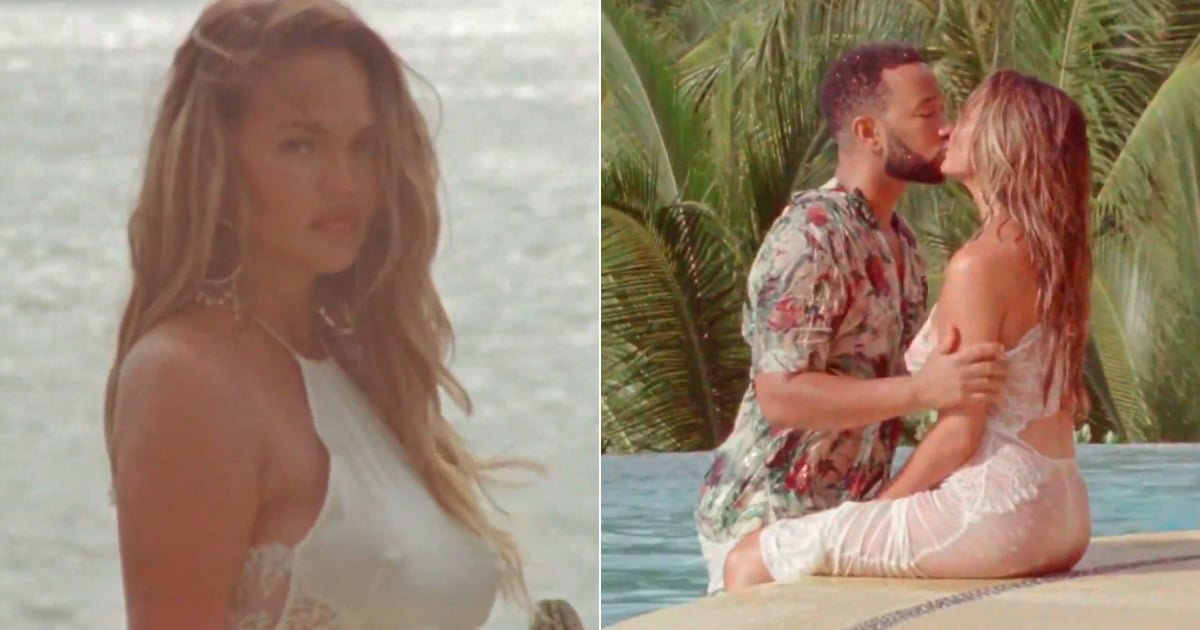 """Chrissy Teigen Wears the Most Romantic Cutout Dresses to Announce Her Pregnancy in """"Wild"""""""