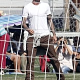 David Beckham watched his sons play soccer.