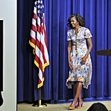 Michelle isn't afraid to take a few risks, which she showed when she wore a mixed-print floral dress to the screening of The Powerbroker: Whitney Young's Fight For Civil Rights.