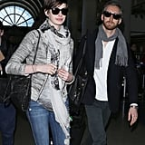 Anne Hathaway and her husband, Adam Shulman, landed in LA on Wednesday.