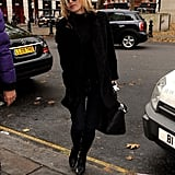 Kate Moss sported a pair of sunglasses.
