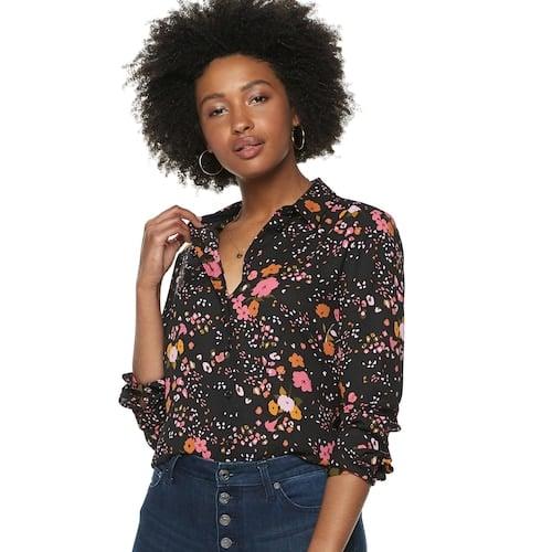 POPSUGAR Essential Button Down Shirt in Wildflower Toss
