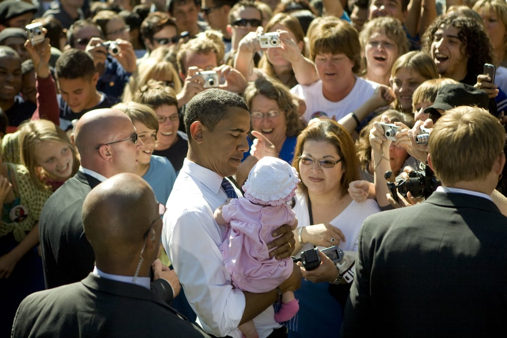 Barack Obama only had eyes for one lil supporter during a 2008 campaign stop in Reno, NV.