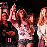 She, Solange, and Maria Shriver enjoyed Jay Z's performance at Coachella in April 2010.
