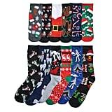 Men's Christmas Holiday 12 Days of Socks Gift Set