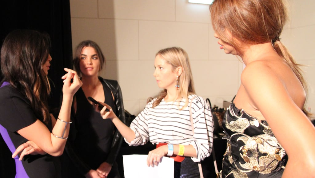 We bailed up David Jones' ambassadors (left to right) Jessica Gomes, Bambi Northwood-Blyth and Samantha Harris backstage.