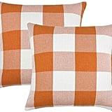 Orange and White Buffalo Check Plaid Throw Pillow Covers
