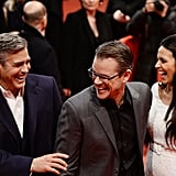 George Clooney had a good laugh with Matt Damon and his wife, Luciana, at the Monuments Men premiere.