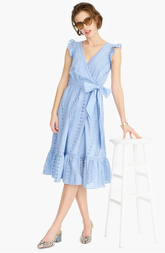 J.Crew All Over Eyelet Wrap Midi Dress