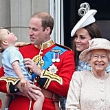 They share similarly adorable glances at Prince George during the Trooping the Colour in London in June.