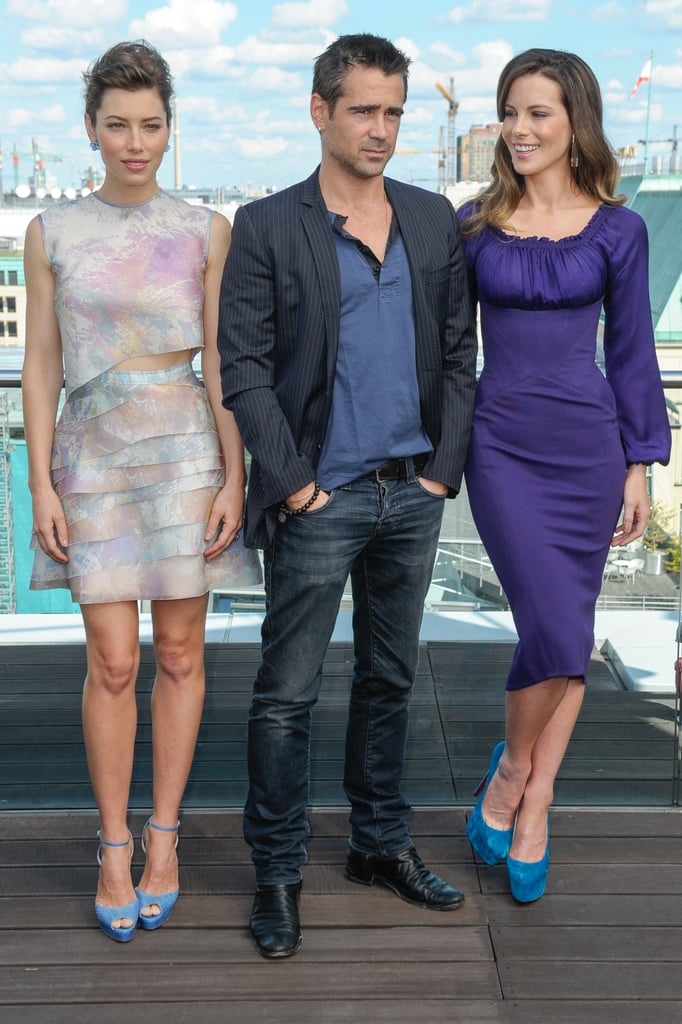 Colin Farrell, Jessica Biel and Kate Beckinsale were in Berlin yesterday for a morning photo call supporting their movie, Total Recall. Jessica looked well-rested after a weekend getaway in Puerto Rico, where she spent time with her fiancé, Justin Timberlake. JT's on the island working on a movie project of his own, Runner, Runner. At the photo call, Jessica showed a bit of tummy in her printed cut-out dress. Kate, though, went more modest in a purple frock. Kate's able to embark on the press tour with her leading man by her side —Total Recall was directed by Kate's husband, Len Wiseman. The remake of the 1990 Arnold Schwarzenegger movie comes out in Australia on Aug. 23.