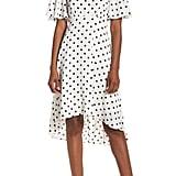 Eliza J Dot High/Low Fit & Flare Dress