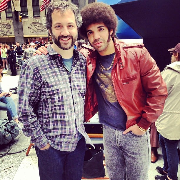 "Drake posed in costume with one of his ""heroes,"" Judd Apatow, on the set of Anchorman: The Legend Continues. Source: Instagram user champagnepapi"