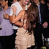 Kim Kardashian stopped by Lavo to give Kris Humphries a kiss.