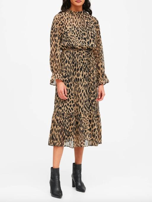 Print Sheer Midi Dress