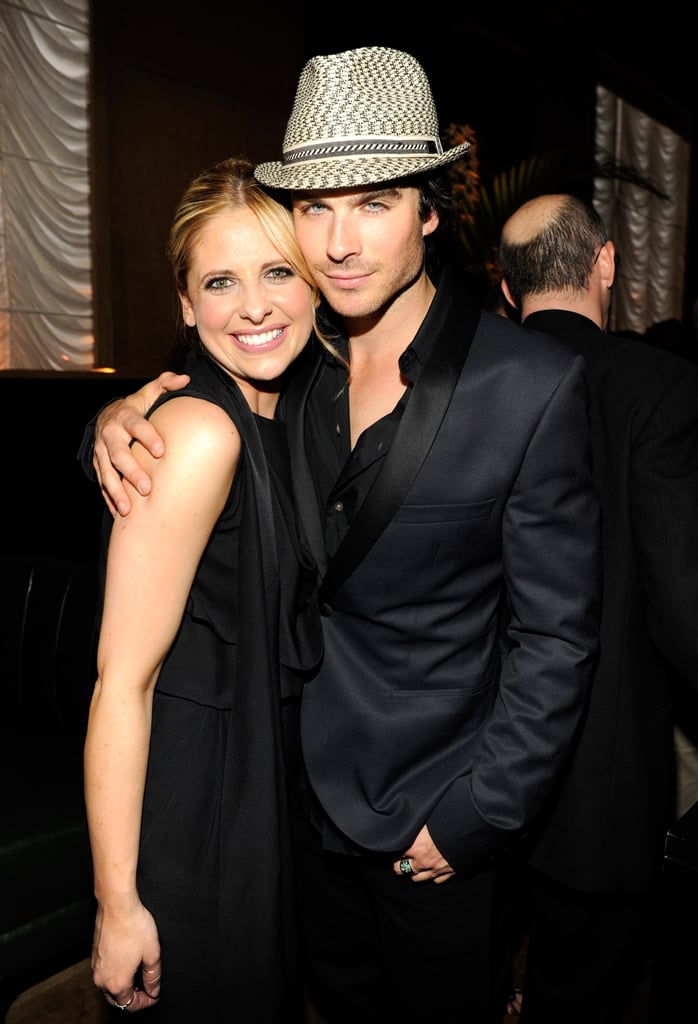 Ian Somerhalder  posed with fellow CW star, and former vampire, Sarah Michelle Gellar at the network's Upfront party held at NYC's Hurricane Club in May 2011.
