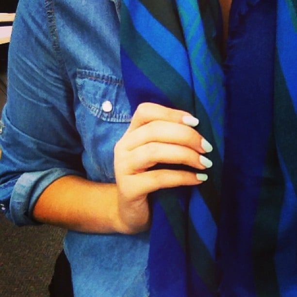 Gen was feeling the blues (sartorially speaking!) when she got dressed this morning. She's wearing a denim shirt from Kmart, a vintage scarf and her nails are painted in seafoam-coloured Fiver from Butter London.