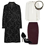This outfit has the potential to take you from office-appropriate to the after-hours set. One thing to remember: keep the pencil skirt and blouse low-key and well-tailored. After that, the accents are up to you, but we think a sexy lace-up pump and a bejeweled collar necklace are the perfect way to punch it up. Get the look:   Reiss Percy Ruffle Shoulder Top ($210)  Dorothy Perkins Aubergine Jacquard Pencil Skirt ($39)  Gucci Double-Breasted Thistle Jacquard Coat ($6,995)  Swarovski Crystal Emerald and Amethyst Statement Necklace ($440)  Manolo Blahnik Ikera Suede Lace Up Pump ($775)