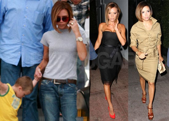 Photos of Victoria Beckham Out To Dinner With Eva Longoria and Shopping With Cruz