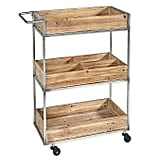 Linon Home Henry Metal and Wood Cart in Silver
