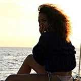 Rihanna chilled on a boat.