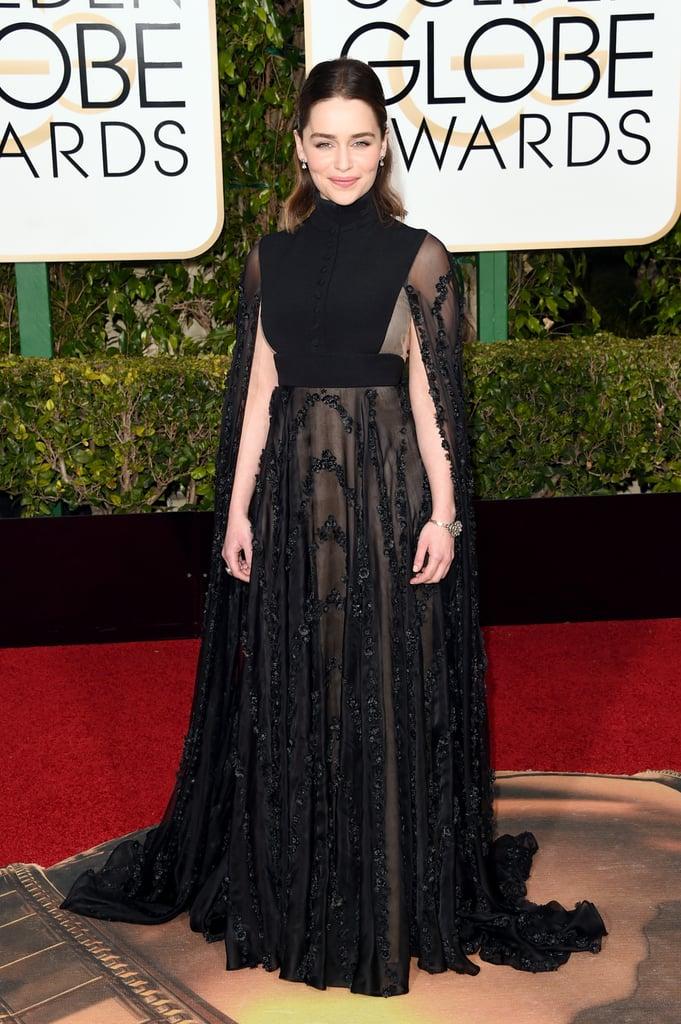 Emilia Clarke in a sheer Valentino Haute Couture gown